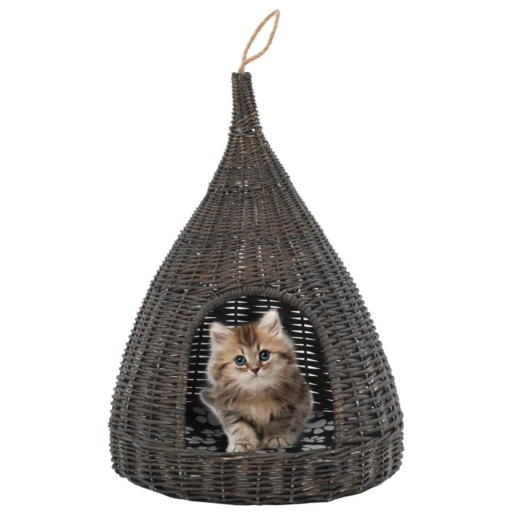 vidaXL Domeček pro kočky s poduškou šedý 40 x 60 cm přírodní vrba týpí