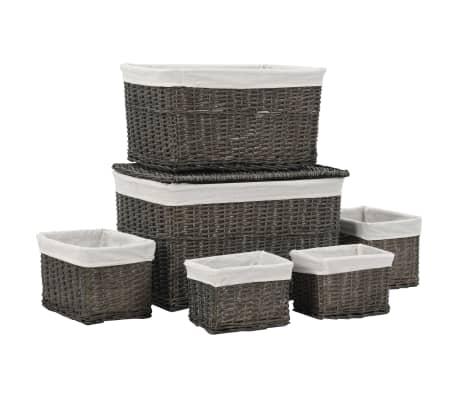 vidaXL Комплект стифиращи кошници от 6 части, сив, естествена върба
