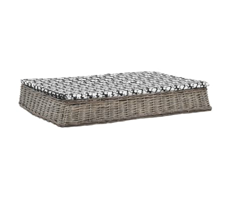 vidaXL Легло за кучета с възглавница сиво 110x75x15 см върба плоско