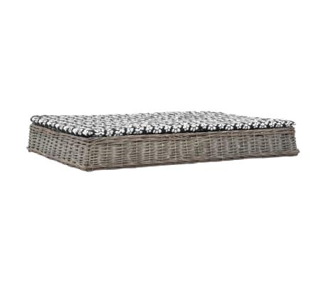 vidaXL Pelíšek pro psy s poduškou šedý 125x80x15 cm vrba plochý design