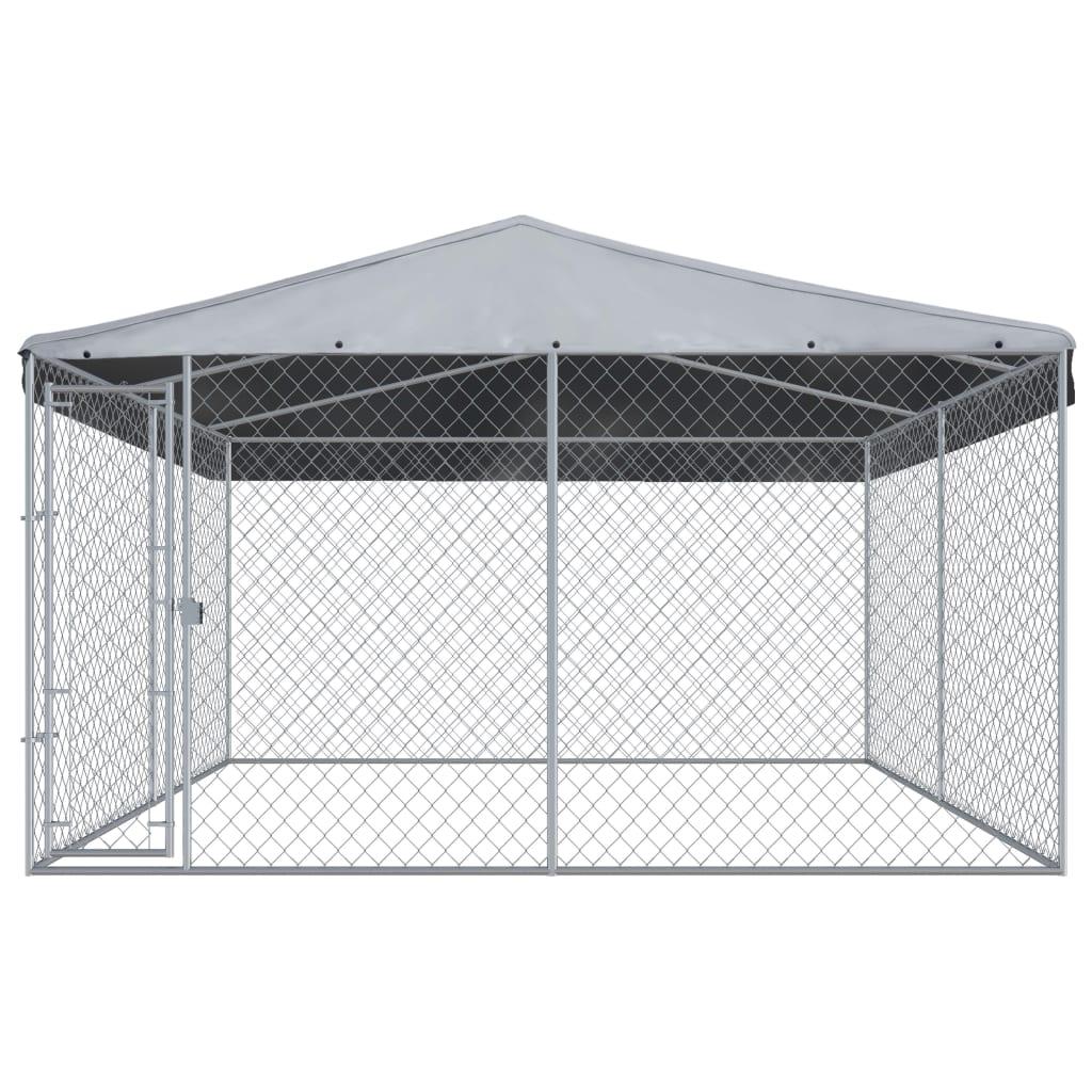 vidaXL Hondenkennel voor buiten met dak 3,8x3,8x2,4 m