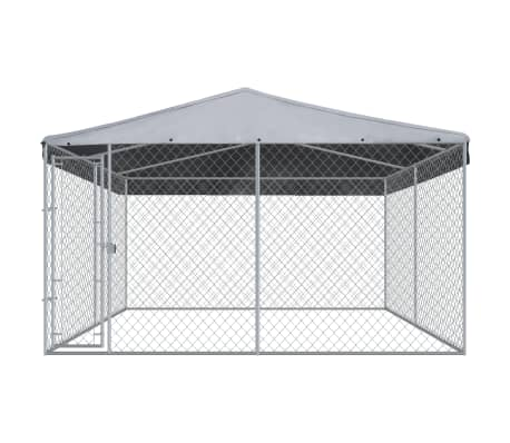 "vidaXL Outdoor Dog Kennel with Roof 150.4""x150.4""x94.5""[2/5]"