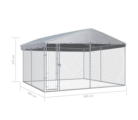 "vidaXL Outdoor Dog Kennel with Roof 150.4""x150.4""x94.5""[5/5]"