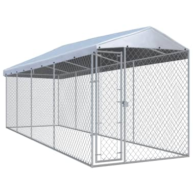 """vidaXL Outdoor Dog Kennel with Roof 299""""x75.6""""x94.5""""[1/5]"""