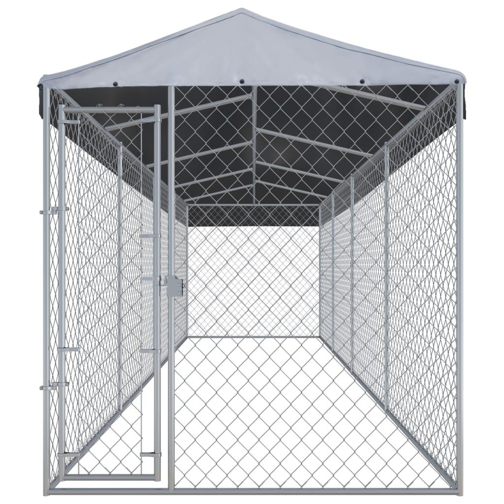 vidaXL Hondenkennel voor buiten met dak 7,6x1,9x2,4 m
