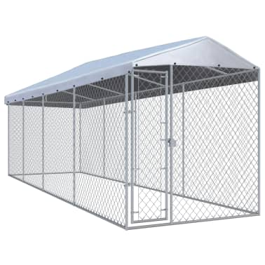 """vidaXL Outdoor Dog Kennel with Roof 299""""x75.6""""x94.5""""[5/5]"""