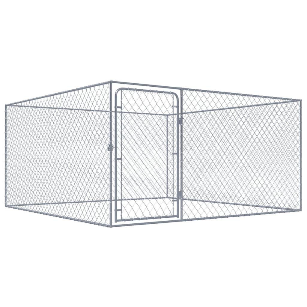 vidaXL Padoc pentru câini de exterior, 2 x 2 x 1 m, oțel galvanizat poza vidaxl.ro
