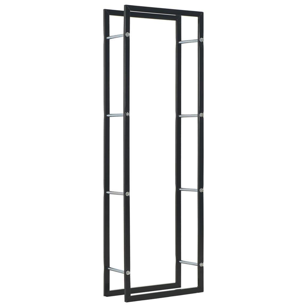 vidaXL Rastel pentru lemne de foc, negru, 50x20x150 cm, oțel imagine vidaxl.ro