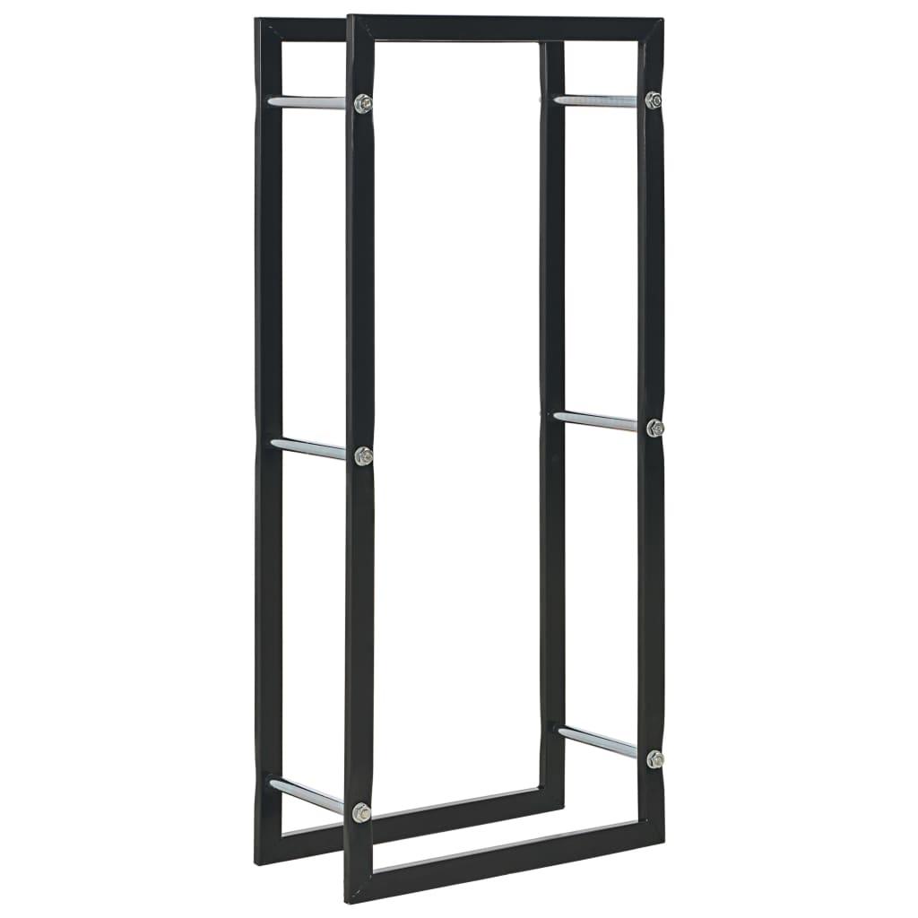 vidaXL Rastel pentru lemne de foc, negru, 44x20x100 cm, oțel imagine vidaxl.ro