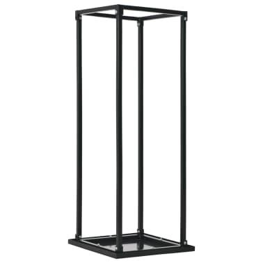 vidaXL Rastel lemne de foc, cu postament, negru, 37x37x113 cm, oțel[1/5]