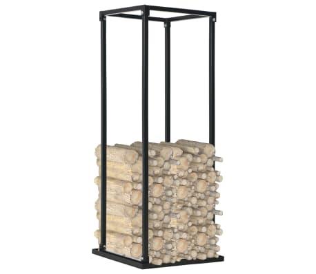 vidaXL Rastel lemne de foc, cu postament, negru, 37x37x113 cm, oțel[2/5]