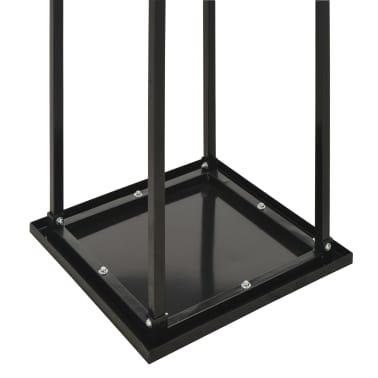 vidaXL Rastel lemne de foc, cu postament, negru, 37x37x113 cm, oțel[5/5]