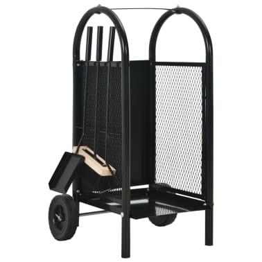 vidaXL Vežimėlis malkoms, juodos spalvos, 30x35x81 cm, plienas[1/8]