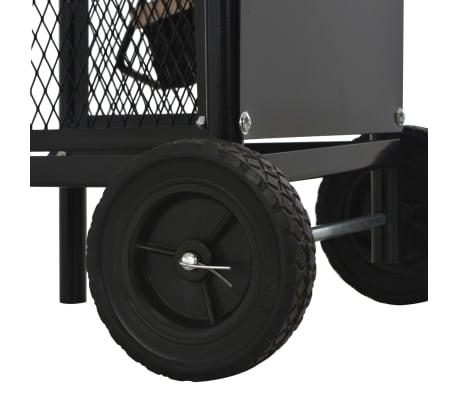 vidaXL Vežimėlis malkoms, juodos spalvos, 30x35x81 cm, plienas[5/8]
