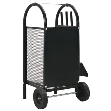 vidaXL Vežimėlis malkoms, juodos spalvos, 30x35x81 cm, plienas[4/8]