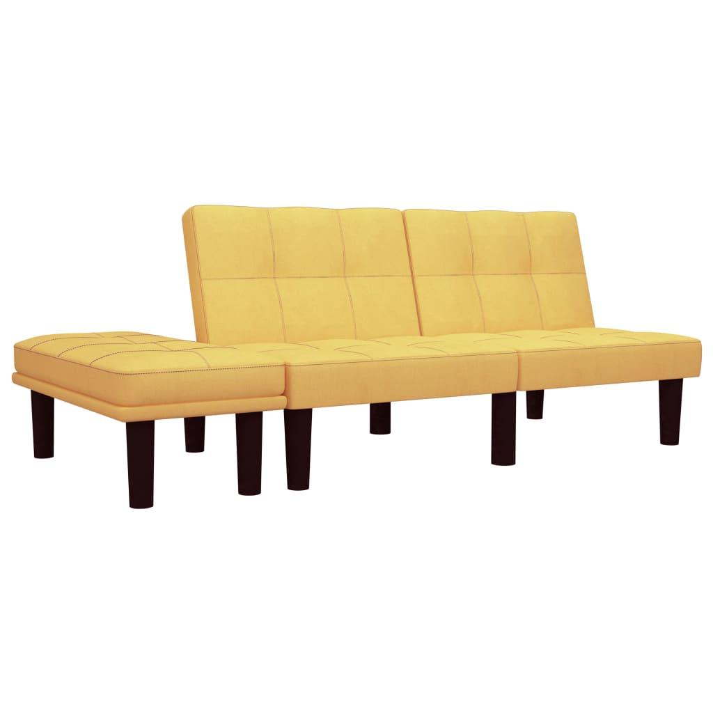 vidaXL 2-osobowa sofa, żółta, tapicerowana tkaniną