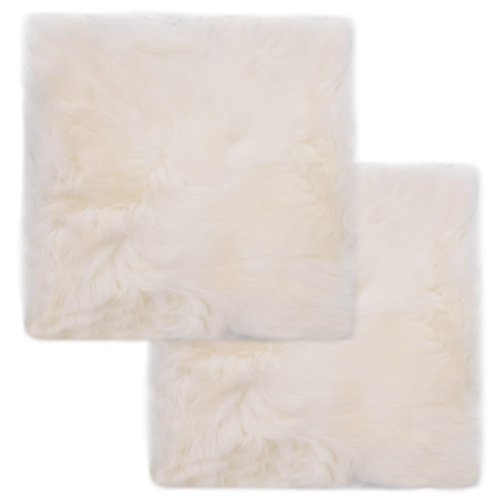 vidaXL Podsedáky na židle 2 ks bílé 40 x 40 cm pravá ovčí kůže