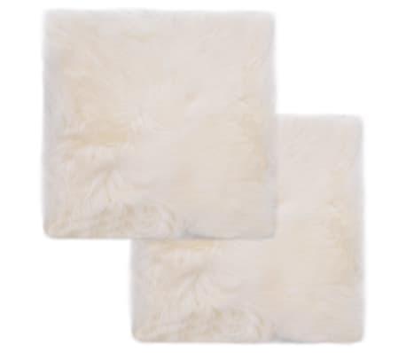 vidaXL Tuolinpehmusteet 2 kpl valkoinen 40x40 cm aito lampaannahka