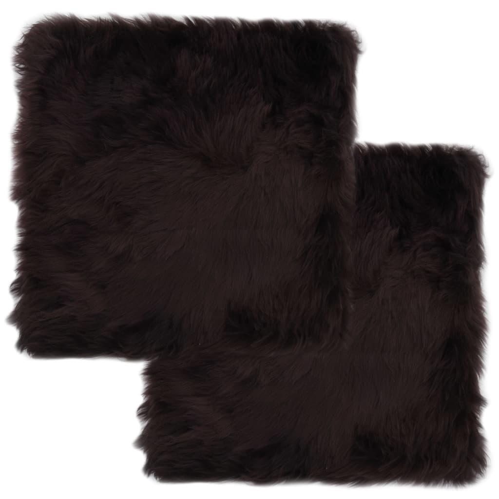 vidaXL Podsedáky na židle 2 ks hnědé 40 x 40 cm pravá ovčí kůže