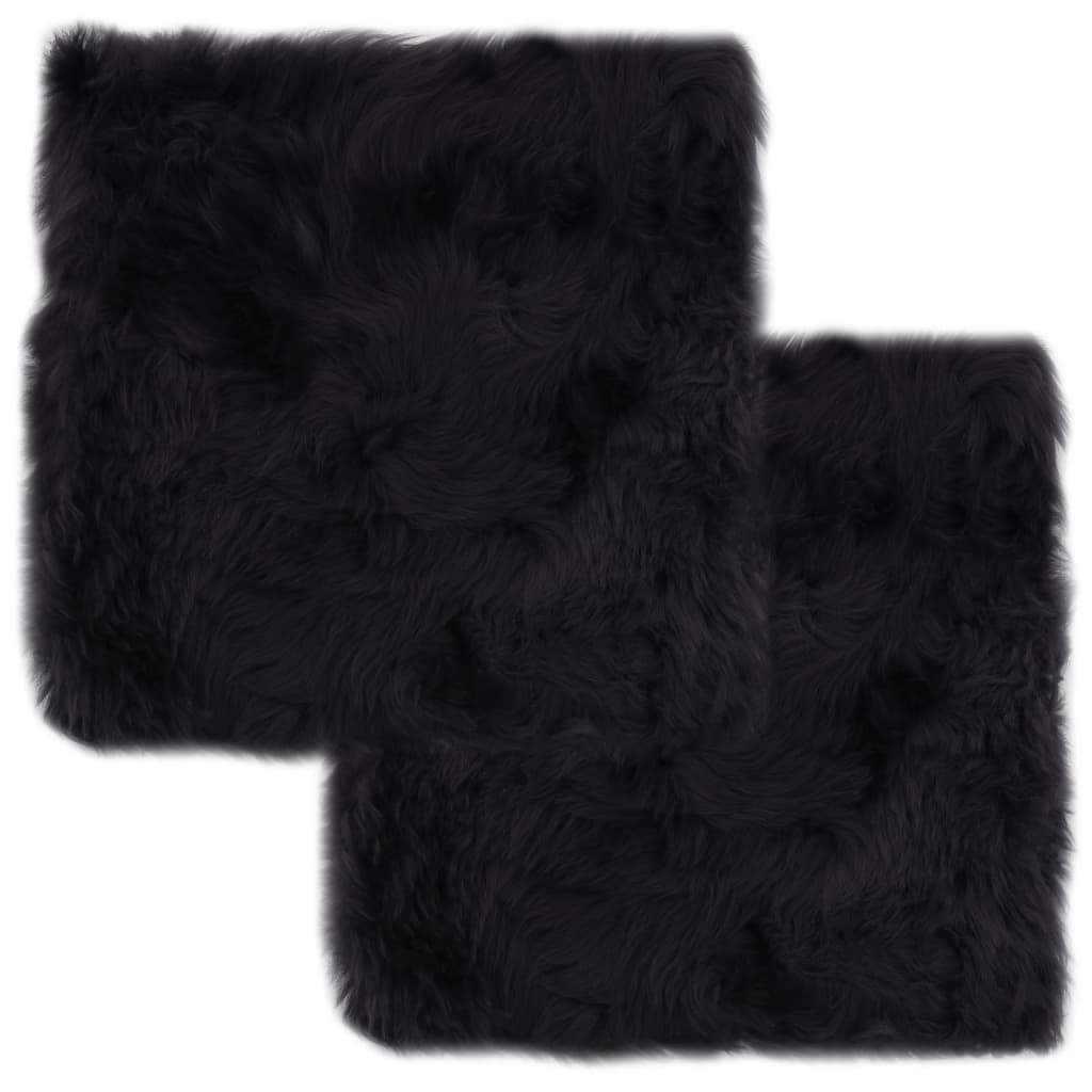 vidaXL Podsedáky na židle 2 ks šedé 40 x 40 cm pravá ovčí kůže