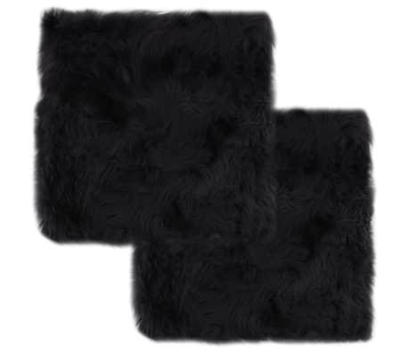 vidaXL Coussins de chaise 2 pcs Gris foncé 40x40 cm Mouton véritable