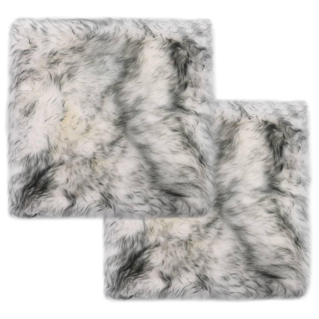 vidaXL Podsedáky na židle 2 ks tmavě šedé žíhané 40 x 40 cm ovčí kůže