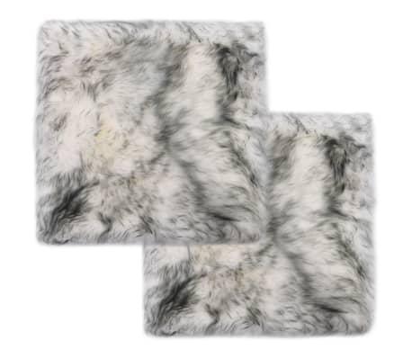 vidaXL Chair Pads 2 pcs Dark Grey Melange 40x40 cm Genuine Sheepskin