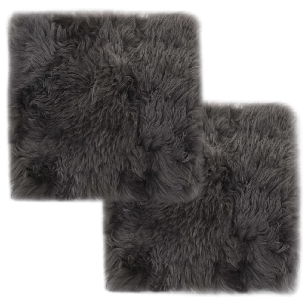 vidaXL Podsedáky na židle 2 ks světle šedé 40 x 40 cm pravá ovčí kůže