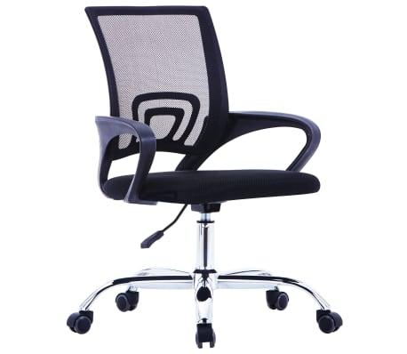 vidaXL Chaise de bureau avec dossier en maille Noir Tissu[1/7]