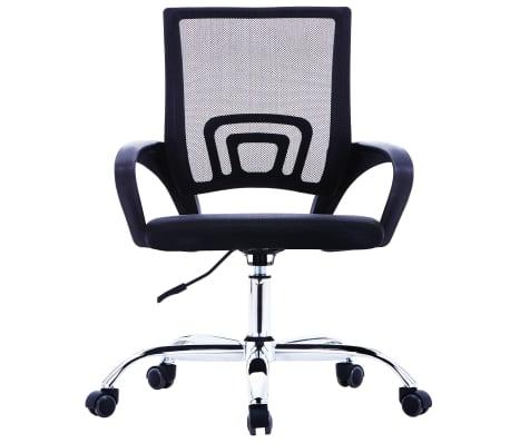 vidaXL Chaise de bureau avec dossier en maille Noir Tissu[2/7]