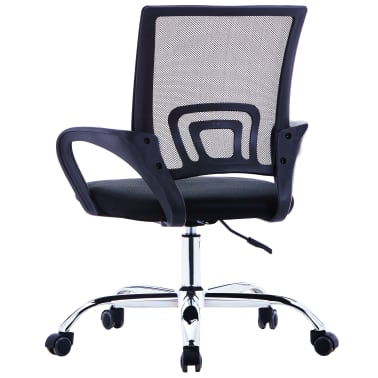 vidaXL Chaise de bureau avec dossier en maille Noir Tissu[3/7]