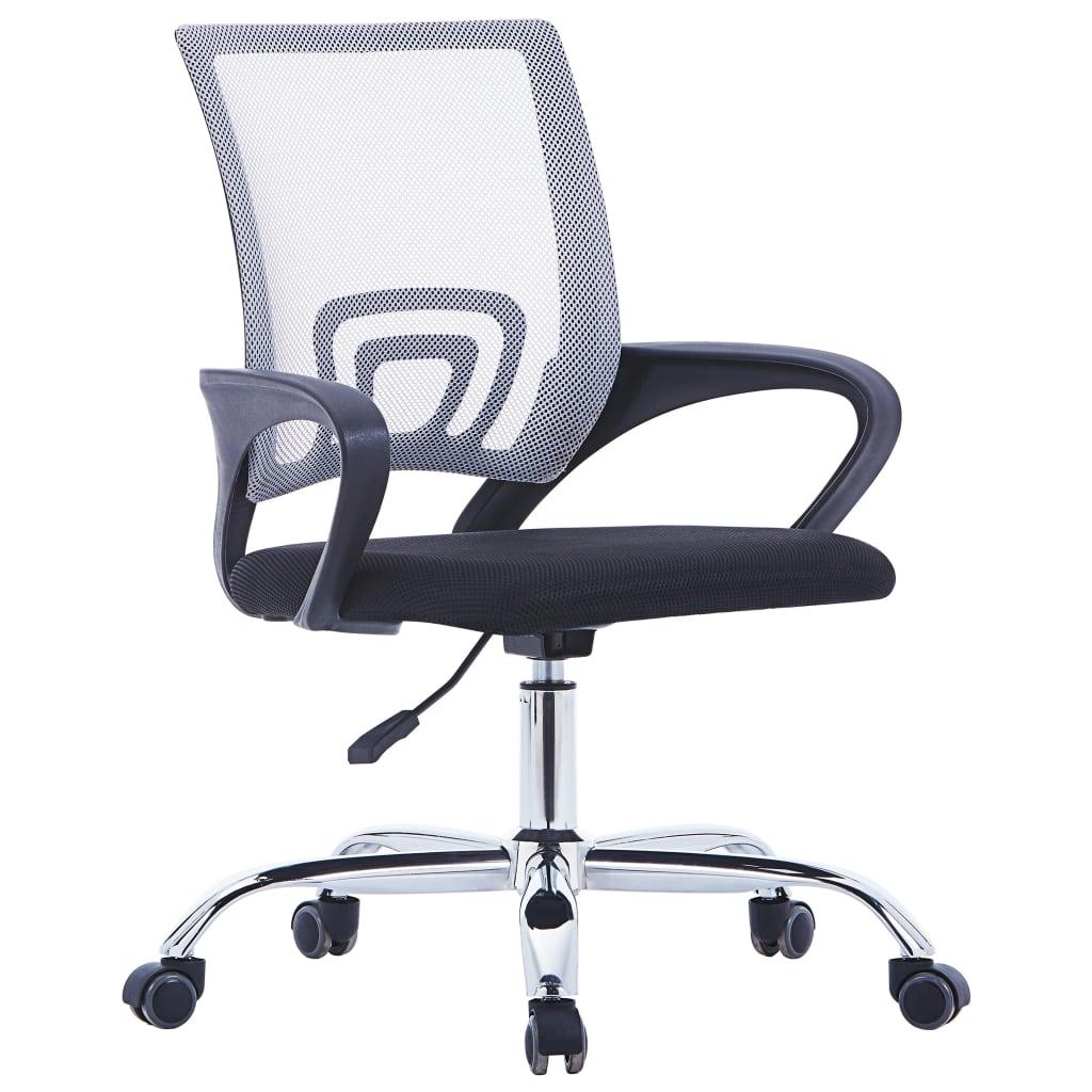 vidaXL Kancelářské křeslo se síťovaným opěradlem šedé textil
