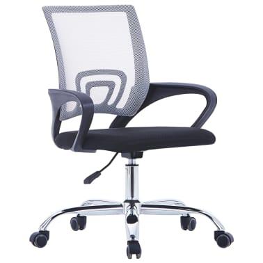 vidaXL Chaise de bureau avec dossier en maille Gris Tissu[1/7]