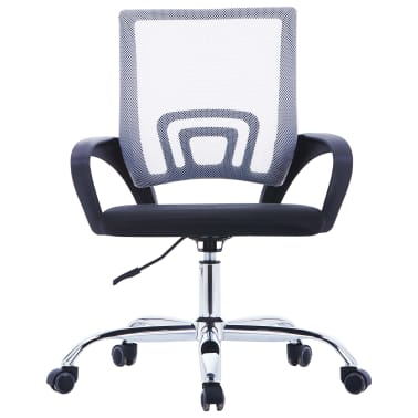 vidaXL Chaise de bureau avec dossier en maille Gris Tissu[2/7]