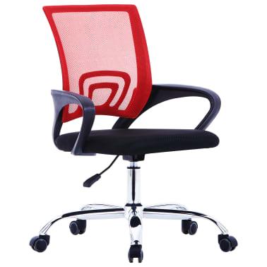vidaXL Biuro kėdė su tinkliniu atlošu, raudonos spalvos, audinys[1/7]