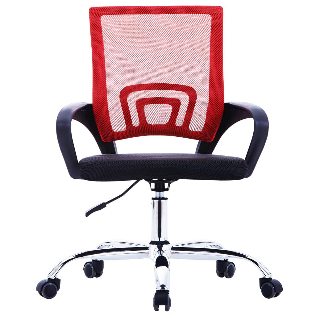 Kancelářské křeslo se síťovaným opěradlem červené textil