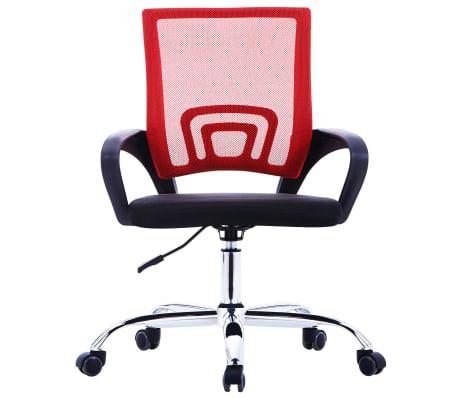 vidaXL Biuro kėdė su tinkliniu atlošu, raudonos spalvos, audinys[2/7]