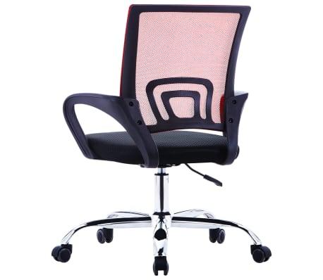 vidaXL Biuro kėdė su tinkliniu atlošu, raudonos spalvos, audinys[3/7]