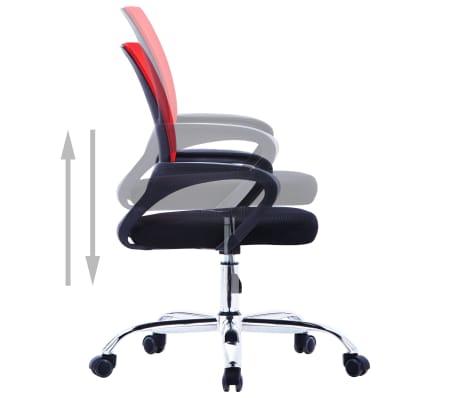vidaXL Biuro kėdė su tinkliniu atlošu, raudonos spalvos, audinys[4/7]