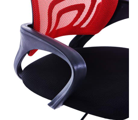 vidaXL Biuro kėdė su tinkliniu atlošu, raudonos spalvos, audinys[5/7]
