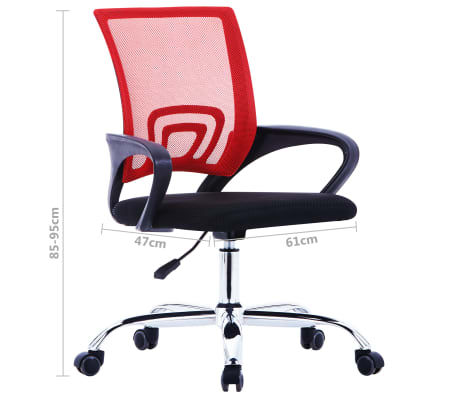 vidaXL Biuro kėdė su tinkliniu atlošu, raudonos spalvos, audinys[7/7]