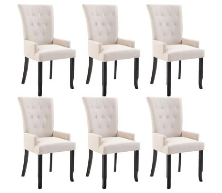 vidaXL Dining Chairs with Armrests 6 pcs Beige Fabric