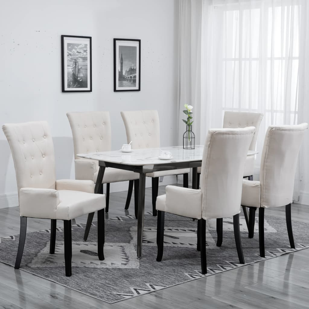 vidaXL Blagovaonska stolica od tkanine s naslonima za ruke 6 kom bež
