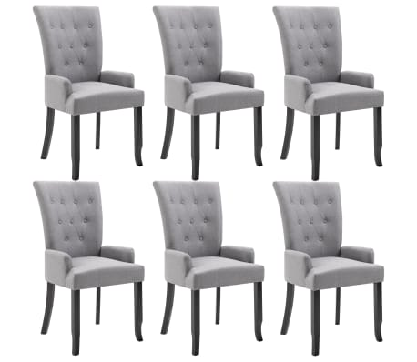 vidaXL Dining Chairs with Armrests 6 pcs Light Grey Fabric