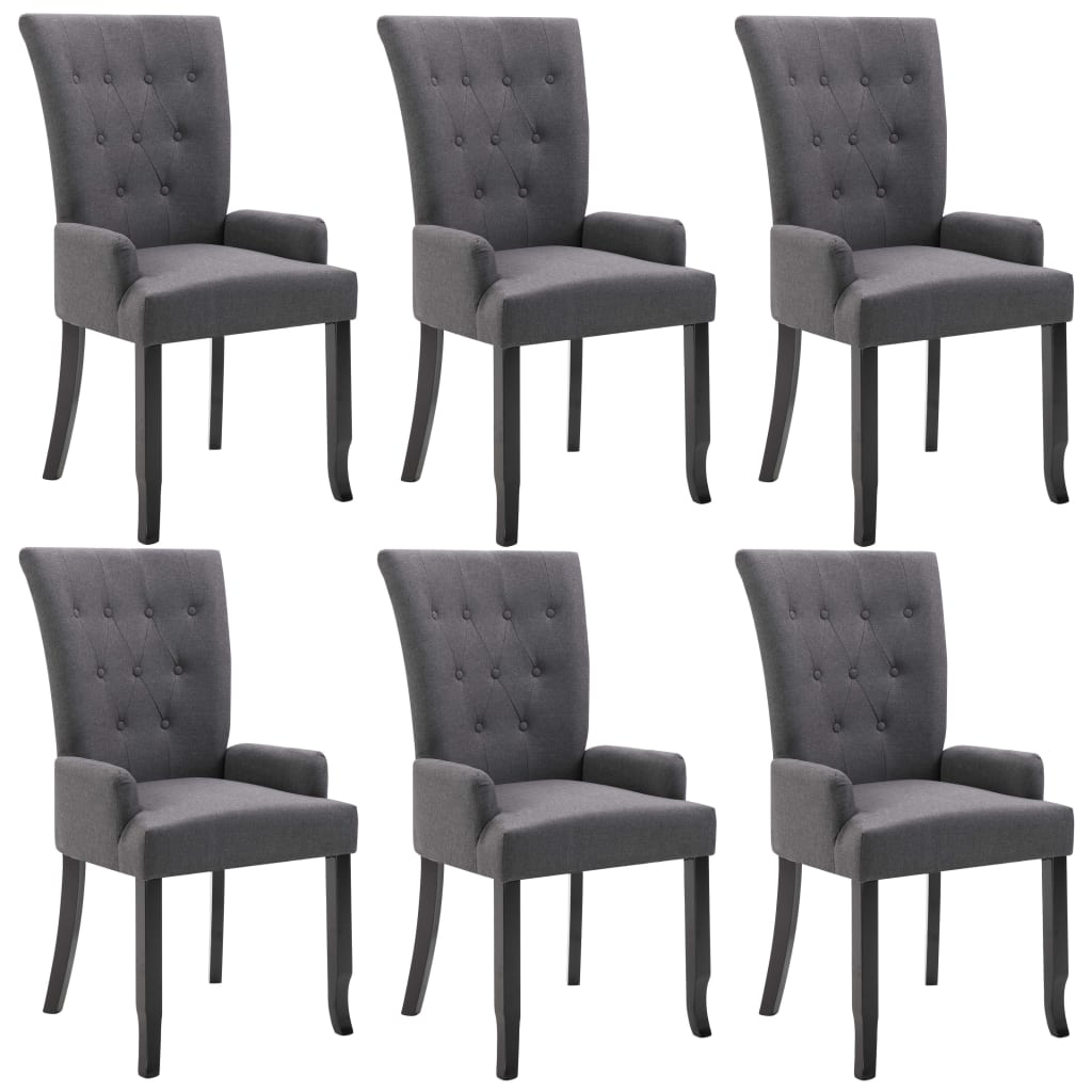 vidaXL Καρέκλες Τραπεζαρίας με Μπράτσα 6 τεμ. Σκούρο Γκρι Υφασμάτινες