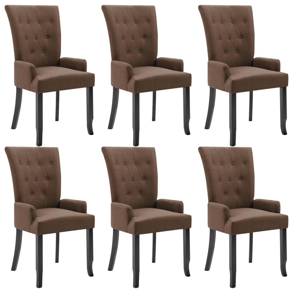 vidaXL Καρέκλες Τραπεζαρίας με Μπράτσα 6 τεμ. Καφέ Υφασμάτινες