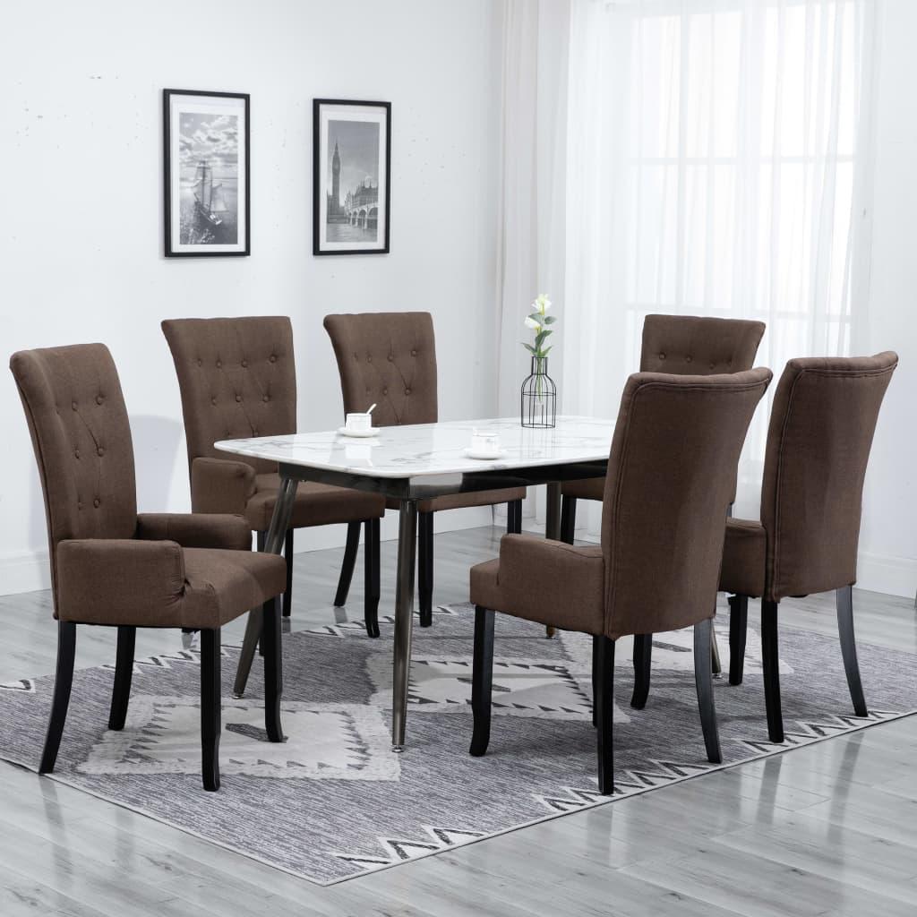 vidaXL spisebordsstole med armlæn 6 stk. stof brun