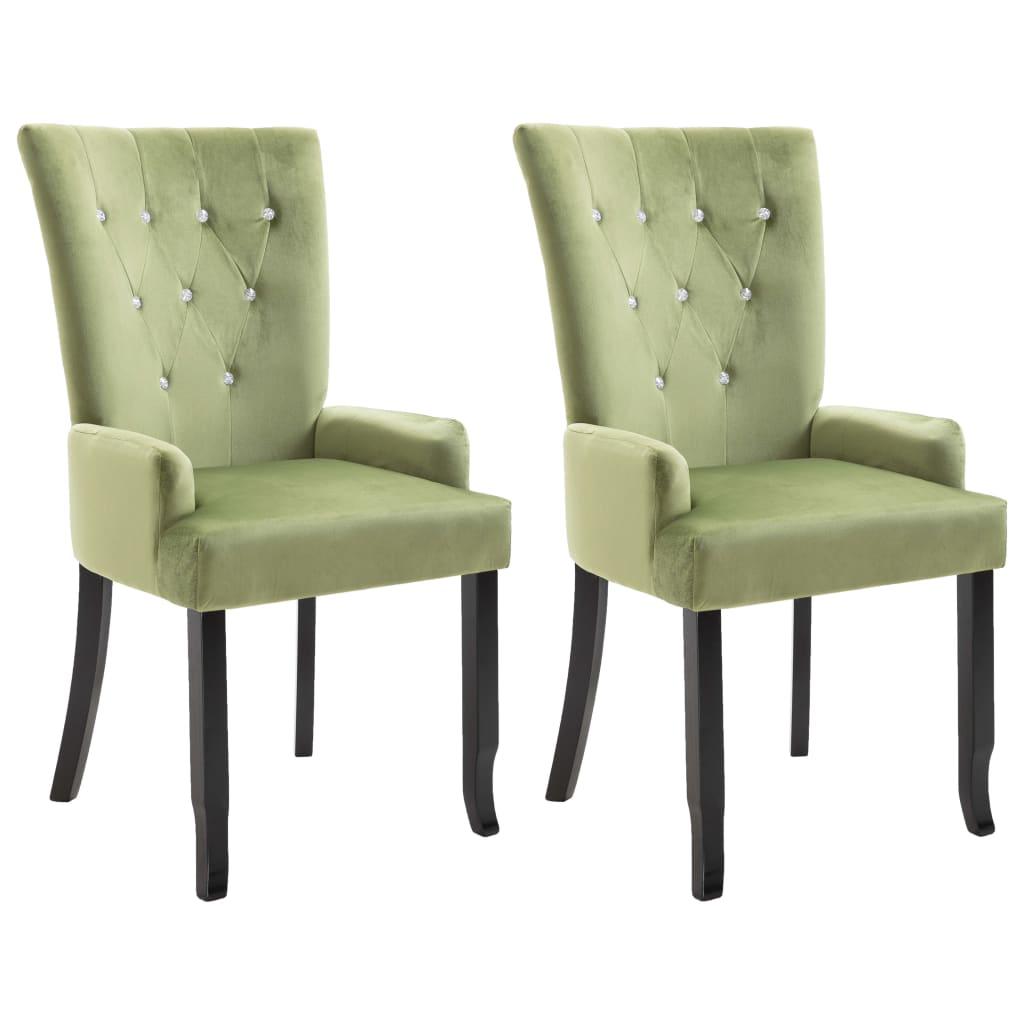 vidaXL Καρέκλες Τραπεζαρίας με Μπράτσα 2 τεμ. Αν. Πράσινο Βελούδινες