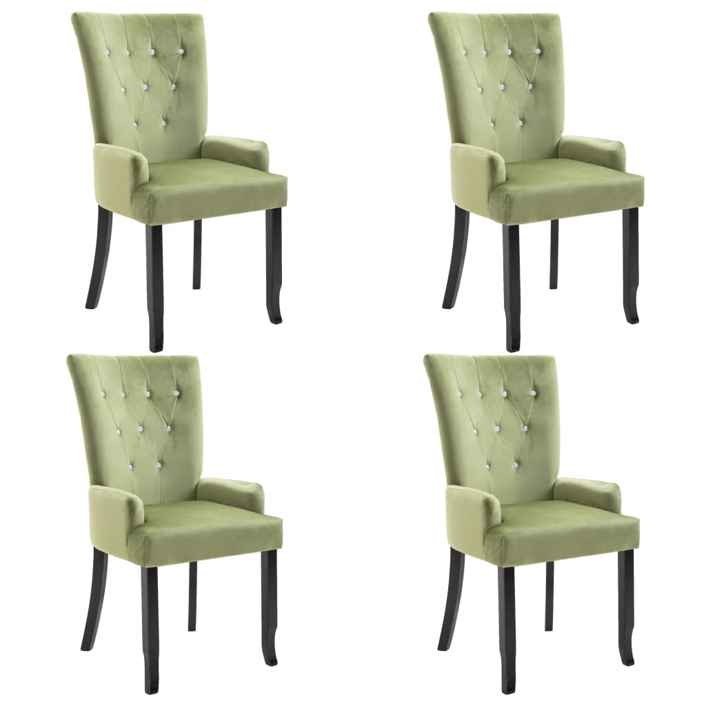 vidaXL Καρέκλες Τραπεζαρίας με Μπράτσα 4 τεμ. Αν. Πράσινο Βελούδινες