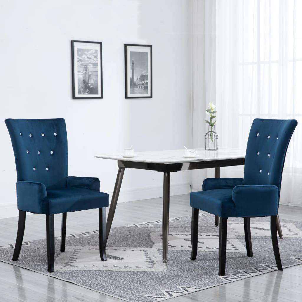 vidaXL Krzesła stołowe z podłokietnikami, 2 szt., granatowe, aksamitne